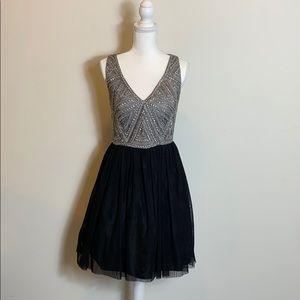 NWT Aidan Mattox Black Silver Dress size 6